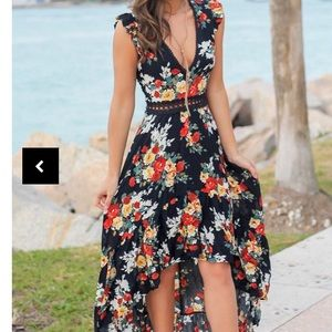 NWT Royal Blue Floral High-Low Dress